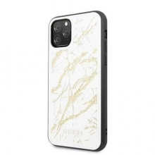 Guess Etui Marble Glass iPhone 11 Pro białe