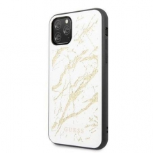 Guess Etui Marble Glass iPhone 11 Pro Max białe
